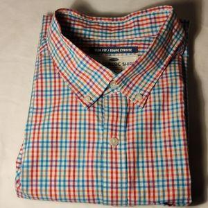 Old Navy Red & Blue Plaid Long Sleeve Dress Shirt